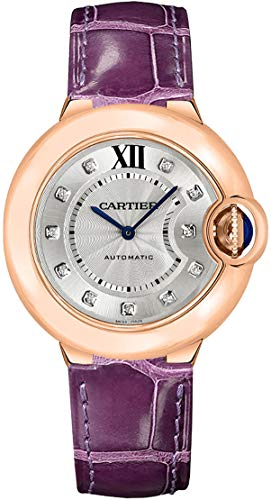 61irgH%2BB2eL Silver Sunray Dial with Diamond Hour Markers 18K Rose Gold Fluted Crown Set With Cabochon Sapphire Polished Solid 18K Rose Gold Case on Purple Alligator Leather Strap