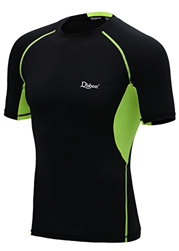 DISBEST Men's Sport T-Shirt, Short-Sleeve Moisture Wicking Quick Dry Athletic Performance Compression Tops,Black+Green,M/US 6