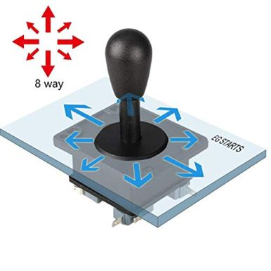 American-Style-Arcade-Competition-2Pin-Joystick-BLACK-Switchable-From-8-Ways-Operation-Elliptical-Black-Handle-Precision-8-Way-187-48mm-terminal
