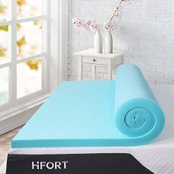 HIFORT 2inch Memory Foam Mattress Pad Twin XL, Cooling Gel-Infused Extra Long Single Bed Topper