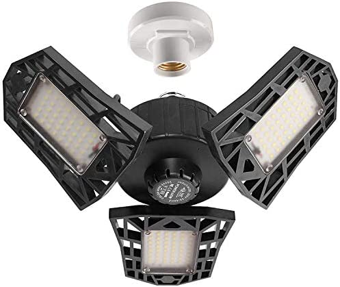 2-Pack Garage Lights 60W LED Garage Lighting – 6000LM 6500K LED Three-Leaf Garage Ceiling Light Fixtures, LED Shop Light with Adjustable Multi-Position Panels, LED Glow Light for Garage, Workshop