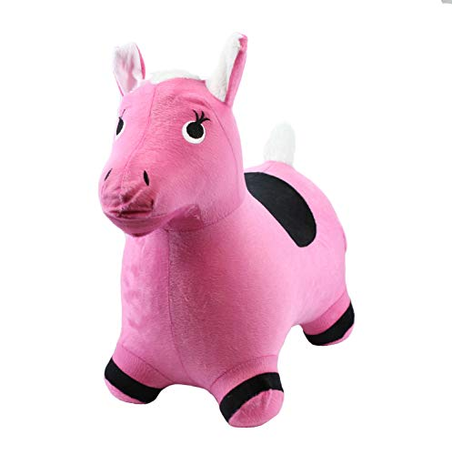 Chromo Bouncy Hopping Toy, Ride On Animal Hopper, Cute Animal Inflatable Jumper, Washable Plush Cover, Pump Included, Activity Gift for 2-5 Year Old Kids Toddlers Boys Girls (Pink Pony)