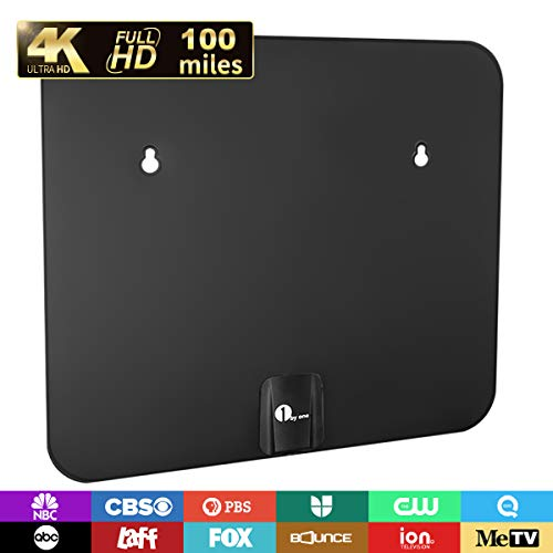 1byone TV Antenna, 75-100 Mile Amplified Indoor/Outdoor Weather Resistant Digital HDTV Antennas Support UHF/VHF/4K/1080P with 26FT Coax Cable (Black)