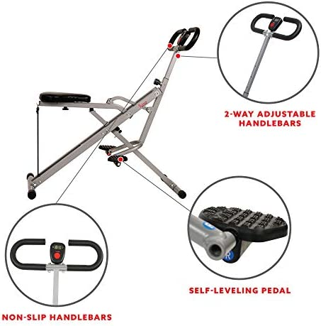 Sunny Health & Fitness Squat Assist Row-N-Ride Trainer for Squat Exercise and Glutes Workout 6
