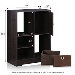 Furinno Living Storage Cabinet with Bins and Door, Espresso/Dark Brown