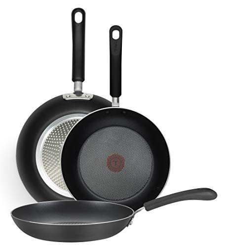 T-fal E938S3 Professional Total Nonstick Thermo-Spot Heat Indicator Fry Pan Cookware Set, 3-Piece, 8-Inch 10-Inch and 12-Inch, Black