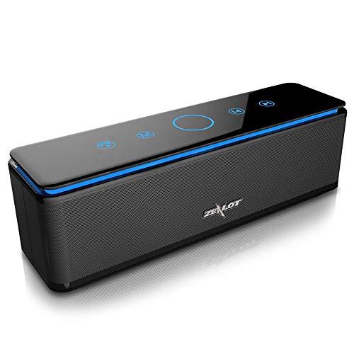 Enceinte-Bluetooth-Portable-10000mAh-Powerbank-26W-Speaker-Bluetooth-50-4-Haut-Parleurs-24-Heures-dAutonomie-Subwoofer-Basses-Puissantes-Controle-Tactile-IPX5AUXMicro-Carte-SDMicrophone-Noir