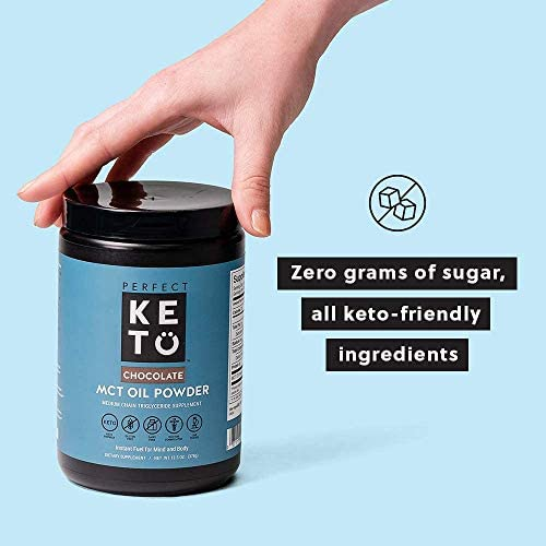 Perfect Keto MCT Oil C8 Powder, Coconut Medium Chain Triglycerides for Pure Clean Energy, Ketogenic Non Dairy Coffee Creamer, Bulk Supplement, Helps Boost Ketones, Chocolate 8