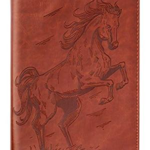 Horse Writing Journal by SohoSpark, Refillable Faux Leather, Lined Personal Diary for Travel, 6×8.75 Notebook for…