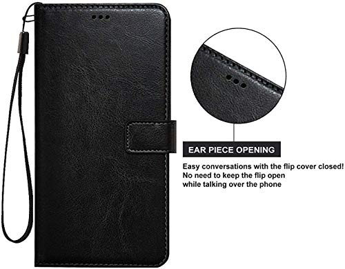 Qlez Full Leather Flip Cover with Unbreakable Glass for Xiaomi Redmi Note 5/ Mi Note 5 |Inner TPU | Foldable Stand | Wallet Card Slots - Smooth Black 6