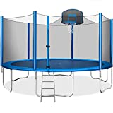 Merax 15 FT Trampoline with Safety Enclosure Net, Basketball Hoop and Ladder - 2019 Upgraded - Kids Basketball Trampoline (Blue)