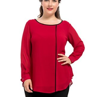 3a800cb4118d1 Chicwe Women s Lined Plus Size Top Blouse With Pleated Back 1X-4X