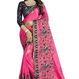 Women's Jacquard Silk Saree With Unstitched Blouse Piece