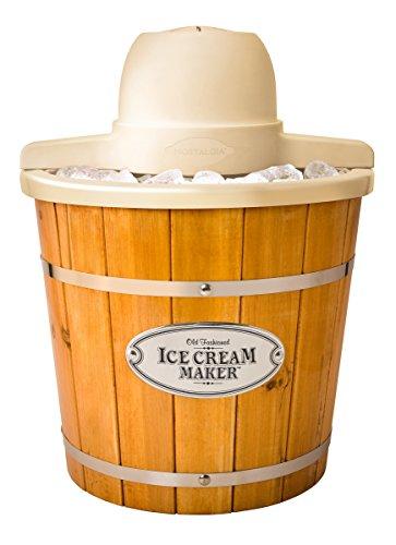 Nostalgia ICMP400WD Electric Wood Bucket Ice Cream Maker, 4-Quart