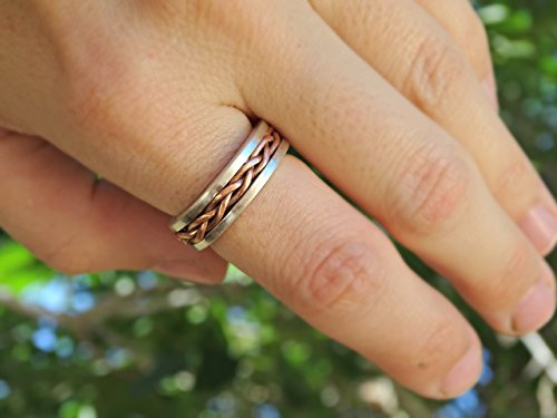 Hand Braided Ring Silver Copper Unique Wedding Band Silver Copper