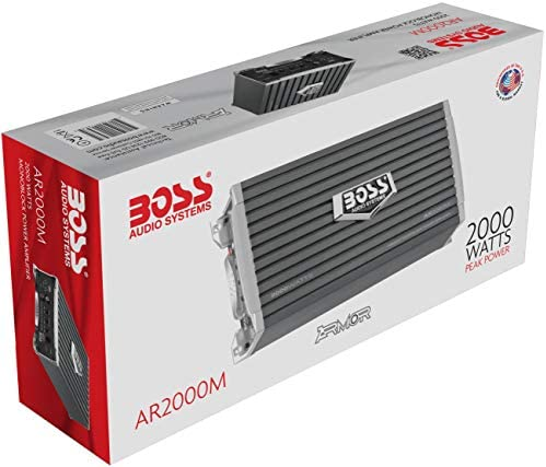 BOSS Audio Systems AR2000M Monoblock Car Amplifier - 2000 Watts, 2-4 Ohm Stable, Class A-B, Mosfet Power Supply, Gray