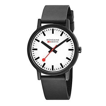 Mondaine Men's SBB Stainless Steel Essence Swiss Quartz Watch with Rubber Strap, Black (Model: MS1.41110.RB)