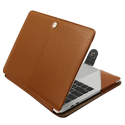 MOSISO PU Leather Case Compatible 2018 MacBook Air 13 A1932 Retina / 2019 2018 2017 2016 MacBook Pro 13 A1989/A1706/A1708, Book Folio Protective Cover Stand Sleeve, Orange Brown