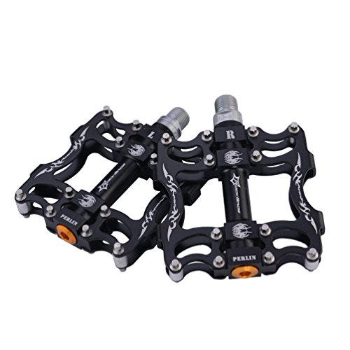 "RockBros MTB Mountain Bike Pedals Flat Aluminum Alloy Platform Sealed Bearing Axle 9/16"" (Black A)"