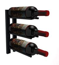 Black Wall-Mounted Wine Rack for Cork Out Storage (Matte Black)