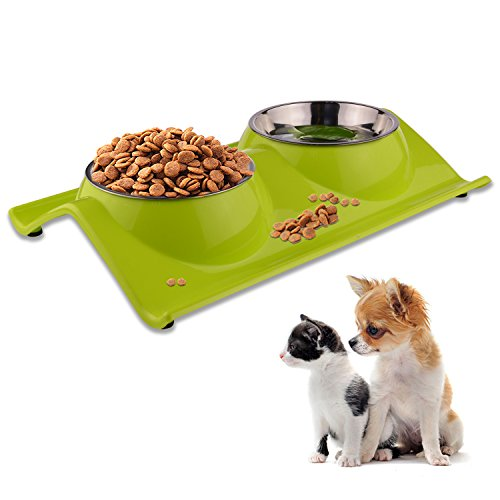 LOVE'S Dog Bowls Pet Food Bowl Raised Cat Puppy Bowls No Spill Elevated Eating Feeding Dog Bowl Set Water Feeder Small Animals No Tip Stainless Steel 1