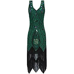 Metme Women's 1920s Vintage Flapper Fringe Beaded Great Gatsby Party Dress (XS, Green)