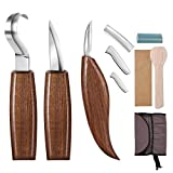 Gimars Sharp 420J20 Japan Stainless Iron Wood Spoon Carving Knives Kits Tools Set, Linoleum Cutters, Whittling Chip Detail Carving Knives with Polishing Leather Strop for Beginners Professional, 3 pcs
