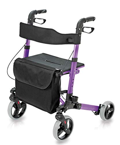 Four Wheel Rollator Walker with Seat for Seniors made of compact folding lightweight aluminum includes seat, backrest, cane holder and storage tote holds a weight capacity up to 300 pounds, Purple