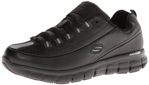 Skechers for Work Women's Sure Track Trickel Slip Resistant Work Shoe, Black, 7.5 M US