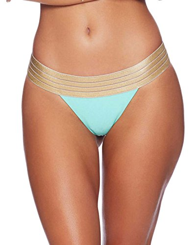 41abaYiWCFL Low rise bikini bottom with gold lurex elastic waistband Shirring down the back for an ultra flattering fit Offers cheeky backside coverage