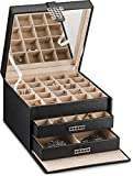 Glenor Co Earring Organizer Holder - 50 Small & 4 Large Slots Classic Jewelry Box with Drawer & Modern Closure, Mirror, 3 Trays Earrings, Ring or Chain Storage - PU Leather Case - Black