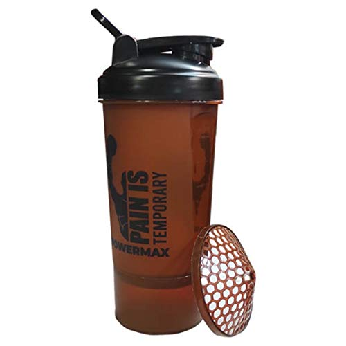 PowerMax Fitness PSB Protein Shaker Bottle with Twist n' Lock Single Storage
