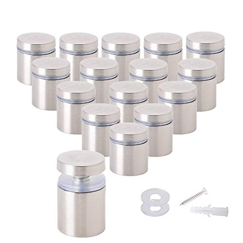 Osring-1-x-1-Inch-Sign-Standoffs-Mounting-Hardware-16-Pack-Wall-Standoff-Holder-Stainless-Steel-Glass-Standoffs-Screw-for-Displaying-Acrylic-Board-and-Signage-Silver