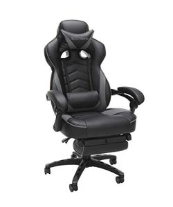RESPAWN-110 Racing Style Gaming Chair - Reclining Ergonomic Leather Chair with Footrest, Office Or Gaming Chair (RSP-110-GRY)