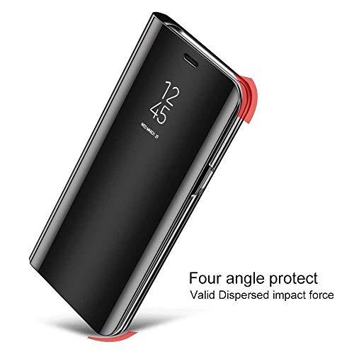 Explocart Mirror Semi View Protective Electroplate Stand Flip Cover for Xiaomi Redmi Note 7 - Black 4