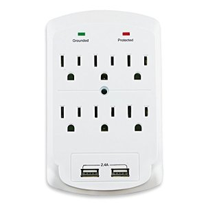Dukens 6 outlets Surge Protected Current Tap With 2 USB – White