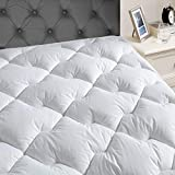 JEAREY Queen Mattress Pad Cover with 8-21''Deep Pocket - Pillow Top Quilted Mattress Topper Cotton Top with Snow Down Alternative Cooling Overfilled