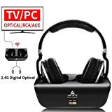 Wireless Headphones for TV Watching with Optical, ARTISTE ADH300 2.4GHz Digital Wireless TV Headphones, 100ft Distance Rechargeable for TV/PC/Phone (Black with Optical)