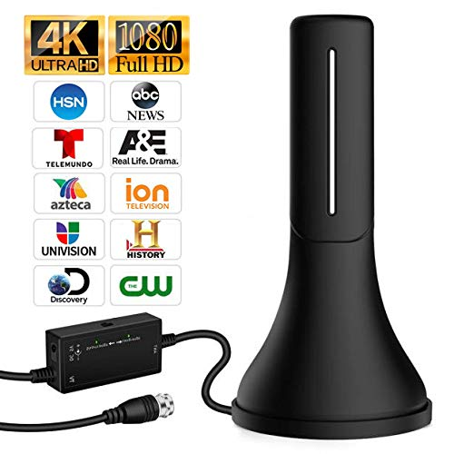 HDTV Antenna - 2019 Update Version Portable HDTV Digital Antenna, 60-120Mile Long Range with Amplifier Signal Booster for 4K HD VHF Uhf Local TV Channels with 13ft Coaxial Cable