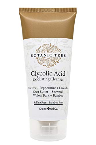 Botanic Tree Glycolic Acid Face Wash-Facial Exfoliating Cleanser w/ 10% Glycolic Acid-Acne Facial Wash For a Deep Clean-Anti Aging AHA Peel for Acne, Wrinkle Reduction-Natural Skin Facewash Scrub for Cystic Acne-6 Oz