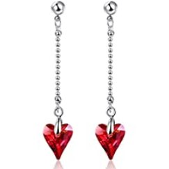 BONLAVIE Heart Earrings Hypoallergenic Dangle Drop Earrings Crystals from Swarovski- Gift Packing for Women