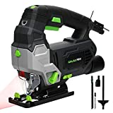 Jigsaw, GALAX PRO 6.7 Amp 3000 SPM Jig Saw Tool with Laser Guide, Max ±45° Bevel Cutting Angle, 6 Adjustable Speeds, 4-Position Orbital Action, Max Cutting Capacity: 4' Wood, 3/8' Metal