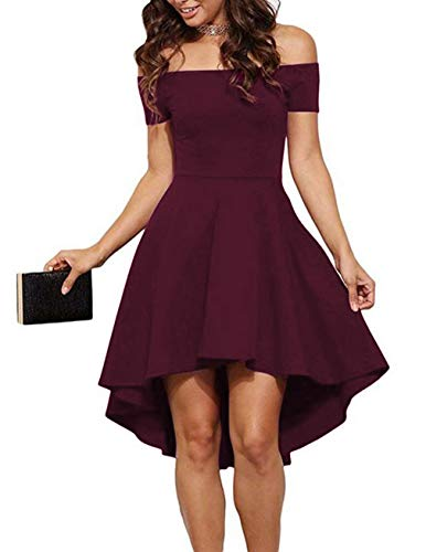 Sarin Mathews Womens Off The Shoulder Short Sleeve High Low Cocktail Skater Dress 14 Fashion Online Shop gifts for her gifts for him womens full figure