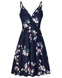 STYLEWORD Womens V Neck-Floral-Spaghetti-Strap-Summer-Casual Swing Dress with Pocket