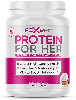 Whey Protein Powder for Women by Foxy Fit - Protein to Help with Weight Management and Healthy Hair Growth with CLA and Biotin (Vanilla Cupcake 1.85 lbs.) 1