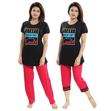 "TUCUTE Women/Girls Cotton Hosiery 3 pcs Top, Pajama & Capri Nightwear/Nighty/Nightsuit/Loungewear/Nightsuit (Top,Pajama & Capri) Size: Large=38"" XL-40 & XXL-42 21"