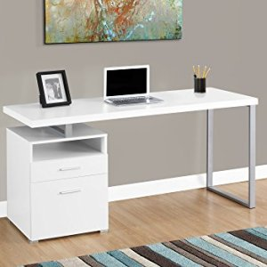 Monarch Specialties 7144 Computer Writing Desk for Home & Office Laptop Table with Drawers Open Shelf and File Cabinet-Left or Right Set Up, 60' L, White
