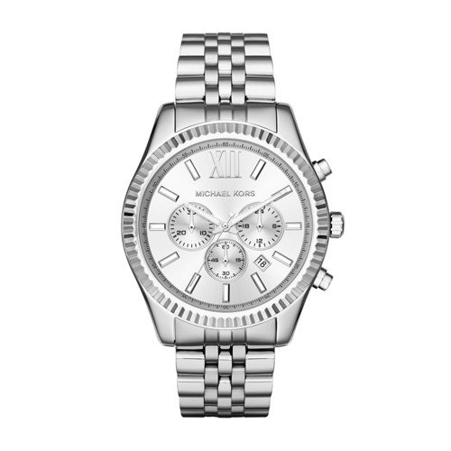 41bFERQR2AL Silver-tone bracelet watch with coin-edge bezel featuring tonal dial with chronograph functions and date display between four and five o'clock 45 mm stainless steel case with mineral dial window Quartz movement with analog display