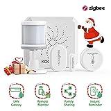 Koogeek Home Security System Wireless WiFi Zigbee Alarm Kit, 24/7 Monitoring-No Monthly Fee, Alexa/Google Assistant, App Control with Gateway/PIR Sensor/Door Sensor/Temperature and Humidity Sensor