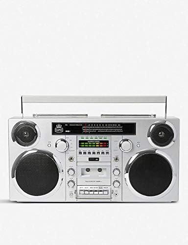 GPO Brooklyn 1980S-Style Portable Boombox – CD Player, Cassette Player, FM Radio, USB, Wireless Bluetooth Speaker – Silver
